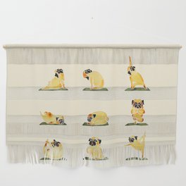 Pug Yoga Watercolor Wall Hanging