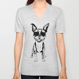 Cute Sketch Small Boxer Dog Wearing Summer Sunglasses Unisex V-Neck