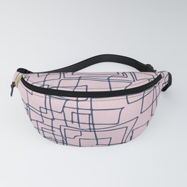 Decorative pink and blue abstract squares Fanny Pack