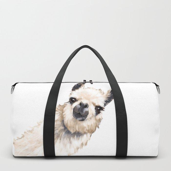 Sneaky Llama White Duffle Bag