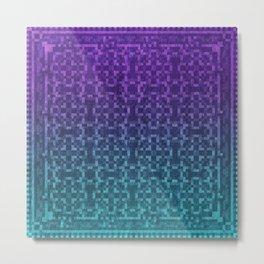 Pixel Patterns Green/Purple Metal Print