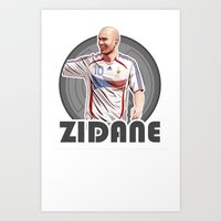 zidane Art Prints featuring Zidane Gray Circle by Sport_Designs