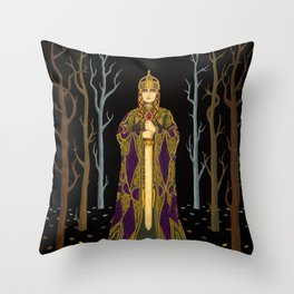 Kriemhild's Revenge (Lady with Sword) Throw Pillow