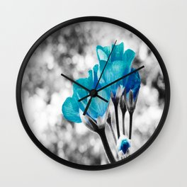 Turquoise FloWERS Pop of Color Wall Clock