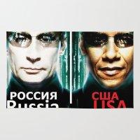 russia Area & Throw Rugs featuring Russia  USA by Pavlo Tereshin