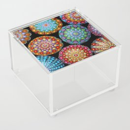 Colorful Mandala painted stones Acrylic Box