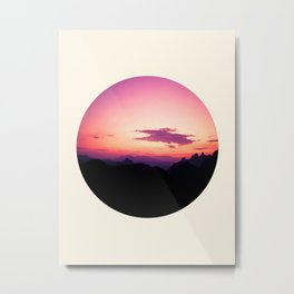 Fuchsia & Purple Sunset Mountains Metal Print