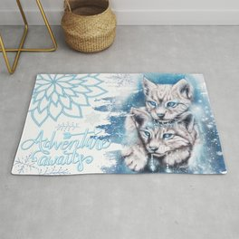 Blue Winter Lynx - Sheena Pike Art & Illustration Rug