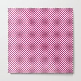 Pink Yarrow and White Polka Dots Metal Print