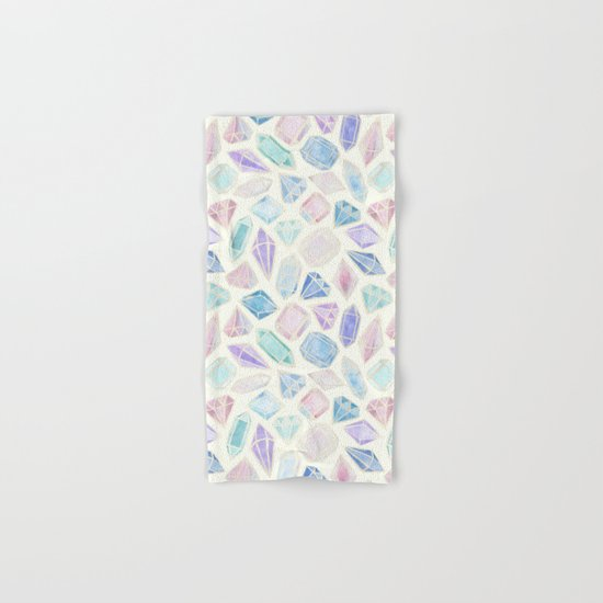 Pastel Watercolor Gems Hand & Bath Towel