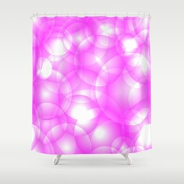 Gentle intersecting pink translucent circles in pastel colors with a crimson glow. Shower Curtain