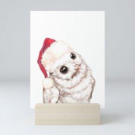 Christmas Snowy Owl Mini Art Print