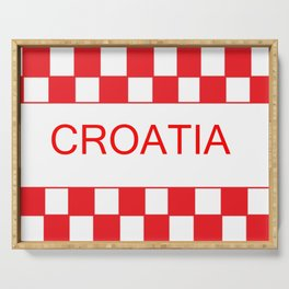 Red chess board Croatia Serving Tray