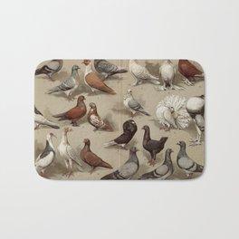 Vintage Pigeon Breeds Chart Bath Mat