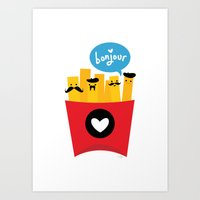 french Art Prints featuring French Fries by Reg Silva / Wedgienet.net
