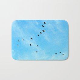 Cormorant flock Fly-over Bath Mat