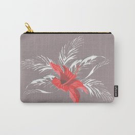 red hibiscus on the grey Carry-All Pouch