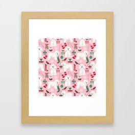Bichon Frise pink christmas holiday themed pattern print pet friendly dog breed gifts Framed Art Print