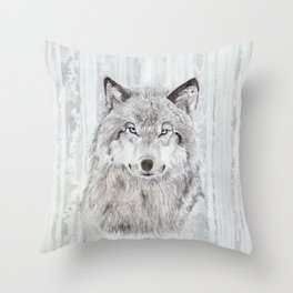 """Watercolor Painting of Picture """"Wolf"""" Throw Pillow"""