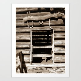 Cabin Window (Sepia) Art Print