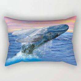 Breaching Humpback Whale at Sunset Rectangular Pillow