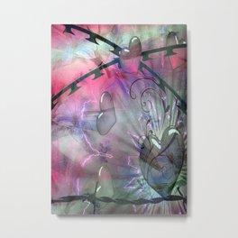 Floral Grunge Abstract Metal Print