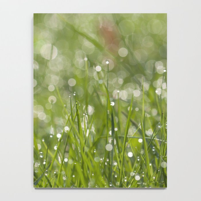 Fresh green meadow - Green grass with waterdroplets sparkling in the sun on #Society6 Notebook