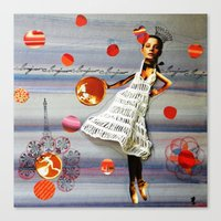 bonjour Canvas Prints featuring bonjour by Gina Geo