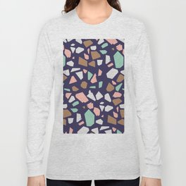Colorful Modern Terrazzo Vector Pattern Long Sleeve T-shirt