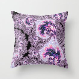 Pink and Purple Fractal Throw Pillow