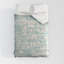 cafe buildings blue Comforters