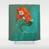 little mermaid Shower Curtains featuring Little Mermaid by Laura Bou