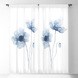 Blue Watercolor Poppies Blackout Curtain