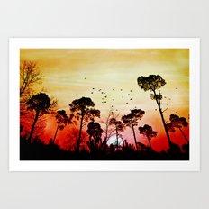 Romantic sunset Art Print