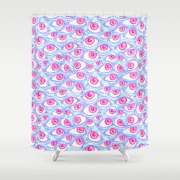 Wall Of Eyes In Baby Blue Shower Curtain
