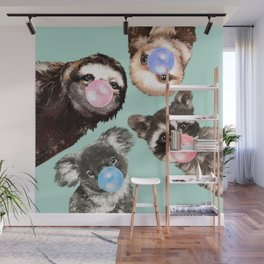 Cute Animals Bubble Gum Gang in Green Wall Mural