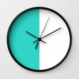 White and Turquoise Vertical Halves Wall Clock