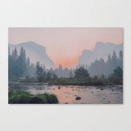 Yosemite Valley Sunrise Pretty Pink Canvas Print