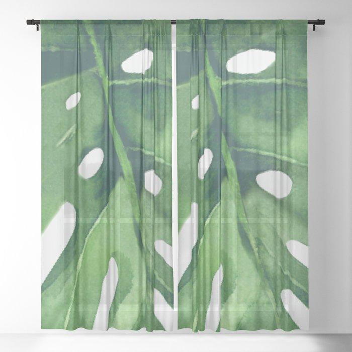 Monstera Leaf Sheer Curtain