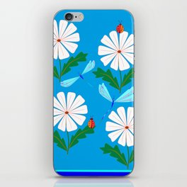 White Spring Daisies, Dragonflies, Lady Bugs and the Sun iPhone Skin