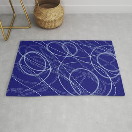 Deep Blue Abstract Shapes & Lines Rug