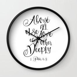 Bible Verse 1 John 4:8 Christian Quote Typography Wall Art Printable Art Bible Verse Printable ART Wall Clock