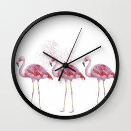 Three Flamingos #society6 Wall Clock