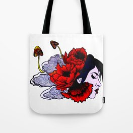 Poppies and Mushrooms Tote Bag