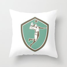 Volleyball Player Spiking Ball Shield Retro Throw Pillow