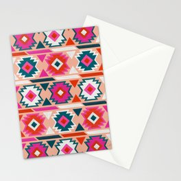 Kilim Abundance Pattern  - Blush & Teal Palette Stationery Cards