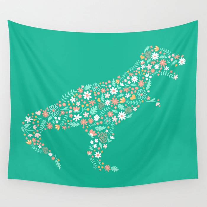 Floral T-Rex in Teal Wall Tapestry