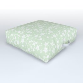 Magical Mint Green and White Stars Pattern Outdoor Floor Cushion