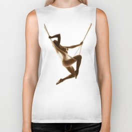 Nude Woman Suspended On Silk Sepia On White Biker Tank