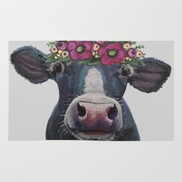 Cow art, Colorful Cow with Flower crown art Rug